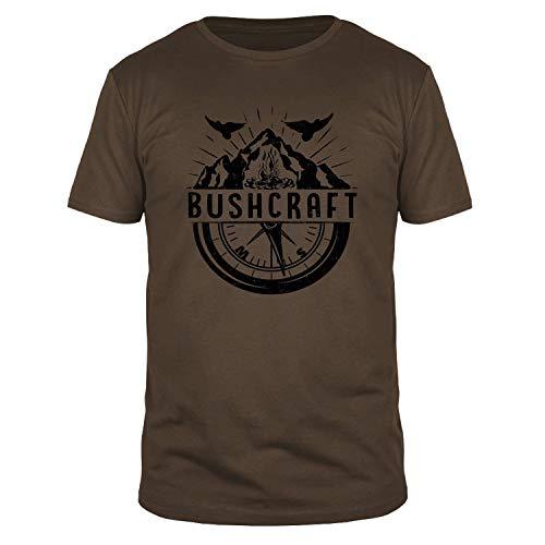 FABTEE - Bushcraft Kompass Wandern - Fun Organic T-Shirt Herren, Größen S-3XL, Größe:S, Farbe:Braun