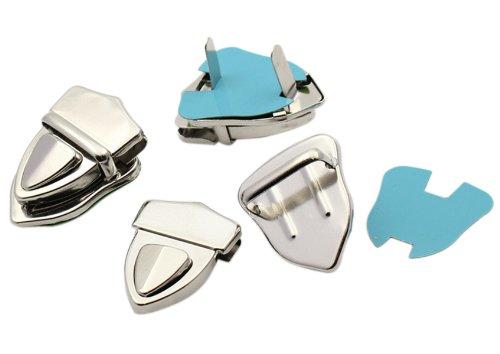 Housweety 10Sets Silberfarbe Taschenverschluss Portemonnaie Verschluesse 4.1x3cm