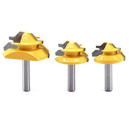 "DingGreat 3Pcs 8 mm Schaft 45 Grad Fräser Lock Miter Router Bit, 1-3/8\"", 1-1/2\"", 2\"" Schnittdurchmesser Verleimfräser Gehrung Fräser"