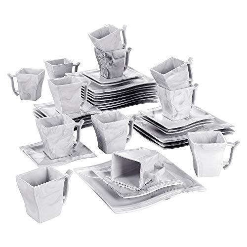 MALACASA, Serie Flora, 36 tlg. Set Marmor Porzellan Kaffeeservice Geschirrset mit je 12 Kuchenteller, 12 Tasse 220ml, 12 Untertasse für 12 Personen