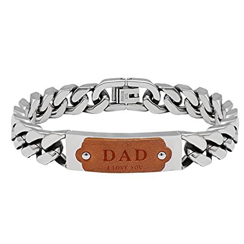 Pulsera Hombre Pulseras de regalo del día del padre para hombre Pulsera ajustable con correa de acero inoxidable con Caja de regalo (Plata, 21.5)