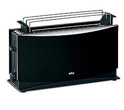 Braun MultiQuick 5 HT 550 BK Toaster - 1000 Watt Langschlitztoaster mit Brötchenaufsatz, Brothebefunktion, Sicherheitsabschaltung, Stufenlose Röstgradkontrolle, schwarz