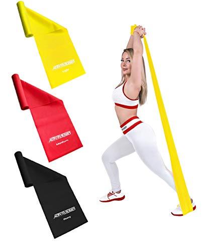 ActiveVikings Fitnessbänder Set 3-Stärken 1,2m Länge | Ideal für Muskelaufbau Physiotherapie Pilates Yoga Gymnastik und Crossfit | Fitnessband Gymnastikband Widerstandsband