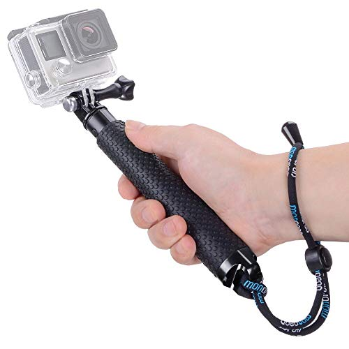 Vicdozia Extendable Selfie Stick, Waterproof Hand Grip Handle Monopod Adjustable Pole Compatible with GoPro Hero 8 7 6 5 4 3+ 3 Session AKASO SJCAM Xiaomi Yi DJI OSMO Action and More Sports Cameras