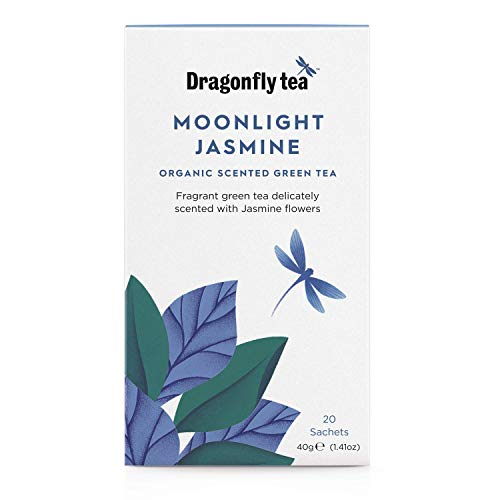 Dragonfly Tea Organic Moonlight Jasmine Green 20 Teabags (Pack of 4, Total 80 Teabags)