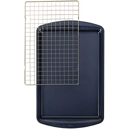 Wilton Non-Stick Diamond-Infused Large Navy Blue Cookie Sheet with Gold Cooling Grid Set