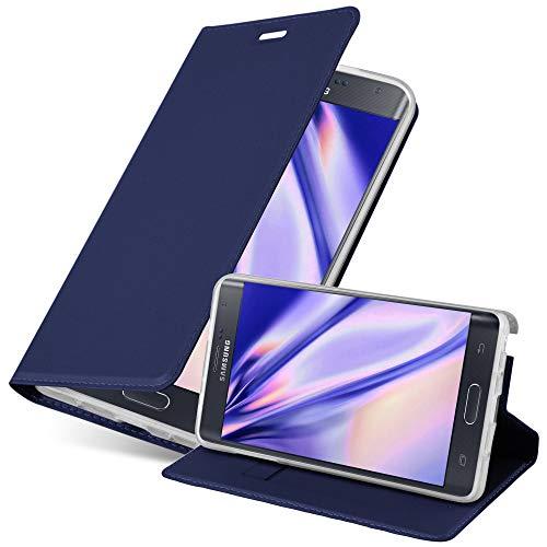 Cadorabo Funda Libro para Samsung Galaxy Note Edge en Classy Azul Oscuro - Cubierta Proteccíon con Cierre Magnético, Tarjetero y Función de Suporte - Etui Case Cover Carcasa