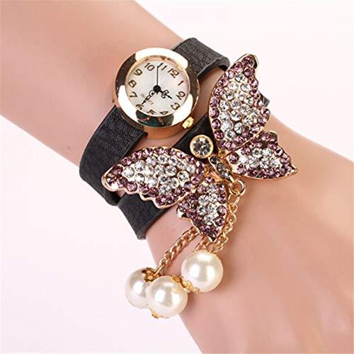 SHOUB 1Pc Women Wrap Strap Wristwatxh Faux Pearls Strass Butterfly Bracelet Quarzo Analog Fashion Watch