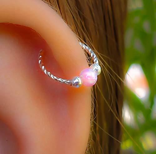 Pink Opal Helix Earring Hoop - 925 Sterling Silver Pink Opal Cartilage Earring ring,Opal Helix piercing Hoop Ear Jewelry