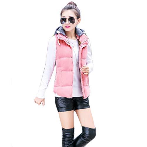 Inlefen Abnehmbare Kapuze mit gesteppten Knöpfen für Damen gepolsterte Weste wasserdichter ärmelloser Bodywarmer-Mantel mit Reißverschluss (Rosa-3XL)