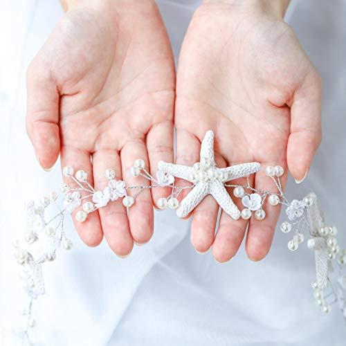 Unicra Wedding Starfish Headpiece Bridal Wedding Hair Vine Hair Accessories for Brides and Bridesmaids (A Silver)