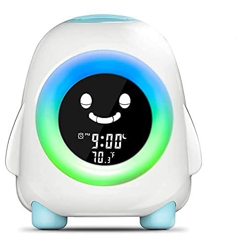 Cadrim Reloj Despertador para Niños, Reloj Despertador con Luz Nocturna para Niños, Entrenador para Dormir para Niños con Cambio de 5 Colores, Buen Regalo para Niños, USB de Carga (Azul)