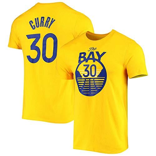 Camiseta Warriors # 30 Curry Swingman para Hombre, Camiseta De Entrenamiento De Baloncesto New City Edition, Camiseta Deportiva De Manga Corta,Amarillo,M