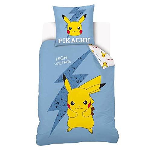 Housse de Couette Pokémon Pikachu, Bleu/Jaune, Enfant, 140x200cm, 1 Personne, 100% Coton