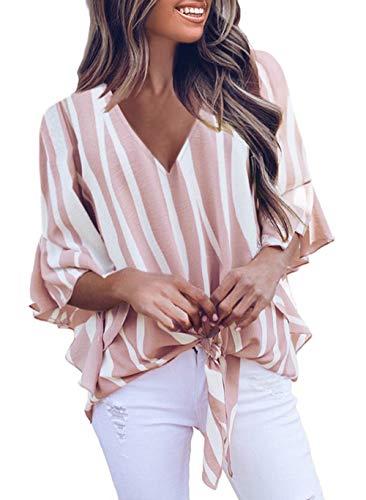 Dokotoo Damen Locker Tops Blusen Casual V Ausschnitt Shirt Gestreift Hemdblusen Alltag Loose Sommer Pink T Shirt Grosse Grössen für Mollige gr L EU 44 46