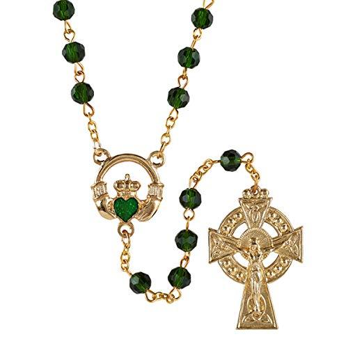Green Glass Bead Irish Claddagh Rosary, 20 Inch