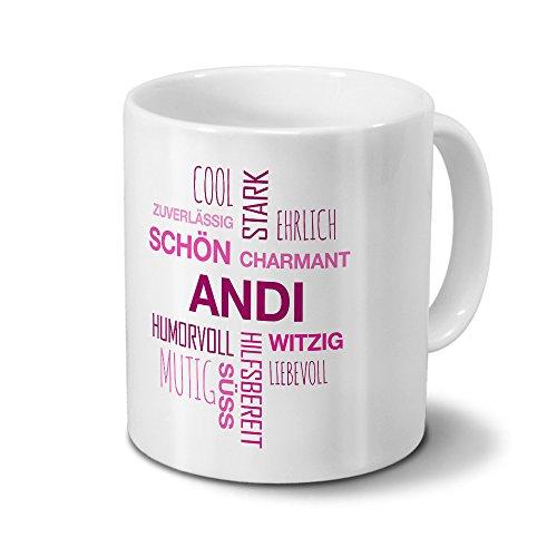 printplanet Tasse mit Namen Andi Positive Eigenschaften Tagcloud - Pink - Namenstasse, Kaffeebecher, Mug, Becher, Kaffeetasse