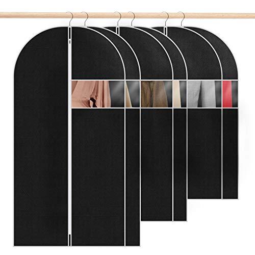 6 Stück Schwarz Kleidersack Kleiderhüllen Abdeckung mit Reißverschluss, Kleiderhülle Anzugsack Abendkleid Brautkleid Mäntel Hemden Mottenschutz Wasserdicht (90cm *2 + 110cm*2 + 130cm*2)