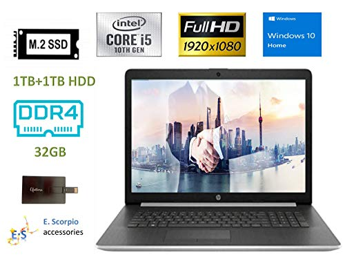 2020 HP Laptop 17 Newest Business Laptop Computer I 17.3' Full HD IPS I 10th Gen Intel Quad-Core i5-1035G1(i7-8550U) 32GB DDR4 RAM, 1TB SSD 1TB HDD Backlit KB WiFi Win 10 with E.S 32GB USB Card