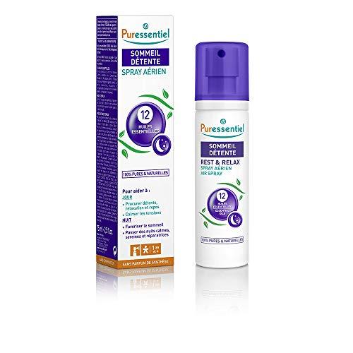 Puressentiel - Sommeil Détente - Spray Aérien aux 12 Huiles Essentielles - Aide à calmer les tensions - 75 ml