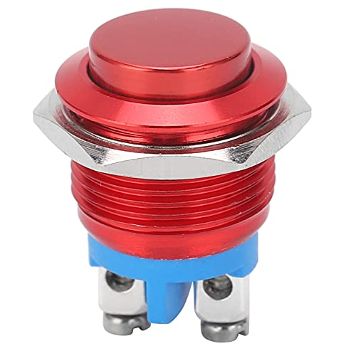 Interruptor de botón pulsador momentáneo de 16 mm 220 V Interruptor de botón pulsador superior elevado Interruptores industriales de reinicio automático de acero inoxidable a prueba(rojo)