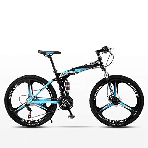 Bove 24 Inch Bicicleta MTB Plegable Bicicleta De Montaña Plegable Amortiguadores Doble Disco Frenos Bicicleta De Montaña Resistente Y Ligero Bicicleta Urbana Unisex-21Velocidades-H