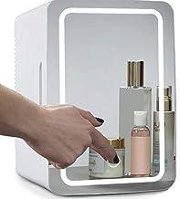 ثلاجة صغيرة لمستحضرات التجميل، 8 لتر، لوح زجاجي واضاءة ليد، مبرد / مجمد، تستخدم للعناية بالبشرة في المنزل او السيارة من جنسو