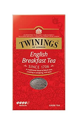 Twinings English Breakfast Tea - Schwarzer Tee lose in der Tee-Packung - kräftiger Schwarztee aus hochwertigen Teeblättern, gepflückt in Sri Lankas und Indiens besten Teegärten, 200 g