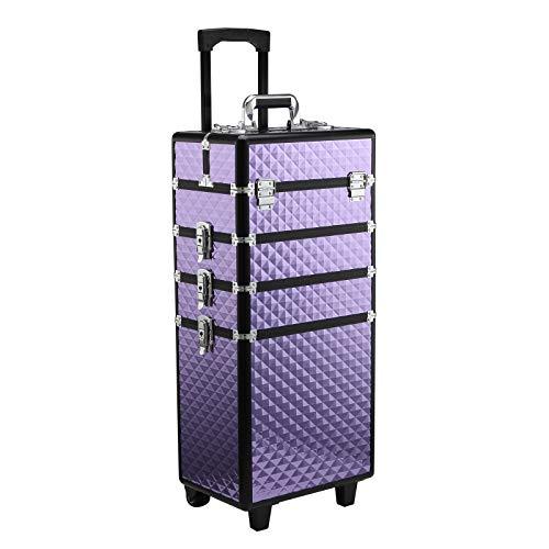 HOMCOM Valigia Porta Trucchi Professionale, Trolley Makeup da Viaggio in Alluminio, 2 Ruote, Viola 33.5x23x76/95.5cm