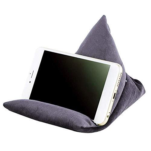 FunYake Telefon Ständer Kissen Lazy People Handyhalter Weich Tragbar Telefon Kissen Sitzsack - Grau