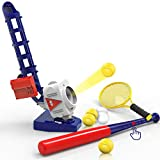 iPlay, iLearn 2 in 1 RC Baseball & Tennis Pitching Machine, Remote Control Bat, Automatic Pitcher, Active Training Toys Set, Outdoor Sport Games, Gifts for 5, 6, 7 Year Olds Kids, Boys, Girls