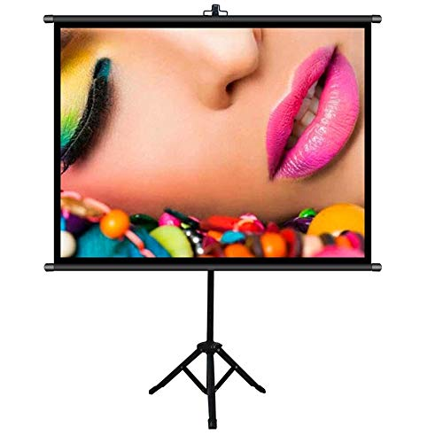 Projection Screen Collapsible Movies Screen With Stand - 4:3 HD Anti-Crease Outdoor/Indoor Projector Screen For Home Theater Cinema Indoor Best Outdoor Movie Screen ( Color : Black , Size : 60inch )