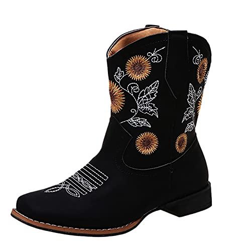 Botines de mujer con estampado de girasol, botines estilo occidental, tacón de bloque bordado, botines cuadrados, ligeros, para mujer, Negro , 39.5 EU