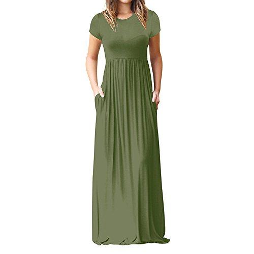 OKEYsoe Empire Taille Kleid Damen Spaghetti Streifen Kleid Einfarbig Sling Kleid Elegant V-Ausschnitt Lang Maxi äRmelloses Plissee Kleid Party Ballkleid Sommer Date Kleid