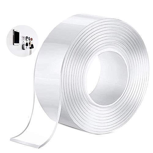 両面テープ 多機能テープ 透明 跡残らず はがせる 粘着性抜群 水で繰り返し使える 家庭/オフィス/寮/学校/会社/工業用など用 厚さ2mmx幅3cmx長さ5m