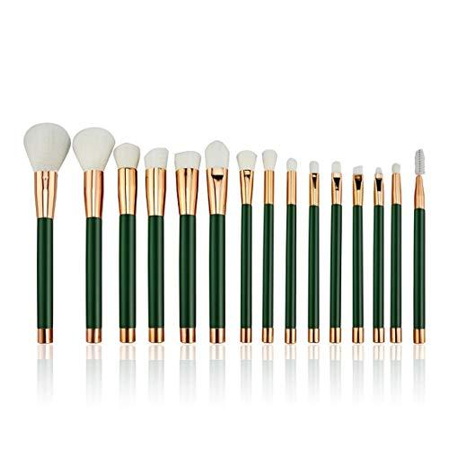 LNLW Lot de 15pcs éponge cosmétiques Ombre à paupières Eyeliner Sourcils Lèvres Nez Fond de Teint Poudre pinceaux de maquillage Ensembles (Color : Green)