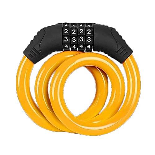 GPWDSN Bucle de Cable de Bloqueo, combinación de código de 4 dígitos, Equipo de Seguridad para Bicicleta, Ciclismo, Equipo de Seguridad antirrobo para MTB (Naranja)