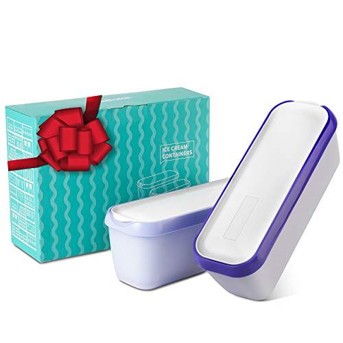 SveBake Ice Cream Storage Containers with Lids Set of 2-1.5 Quarts Homemade Ice Cream Tubs, Freezer Containers, Purple & Lavender