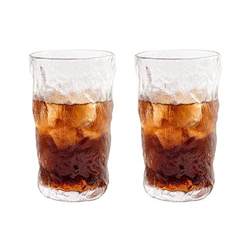 OMIDM Copa de Vidrio Juego de Dos Piezas de 12.5 oz Sin Plomo Glaciar de Vidrio patrón de Vidrio de Agua de Vidrio Adecuado para Todo Tipo de Juegos de Vidrio de Bebidas Taza de Agua