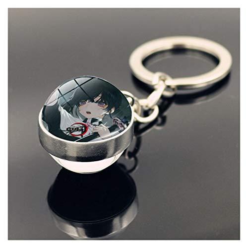 MNZDDDP Coche De Bola De Vidrio De Doble Cara Llavero Colgante Anime Car Key Rings Hombres Mujeres Regalo De Cumpleaños (Color Name : 11)