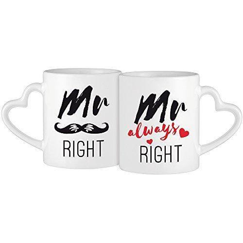 2er Set weiße Tassen mit Herzhenkel Aufdruck – Mr Right & Mr Always Right –– Moustache-Motiv – Kaffeetassen für gleichgeschlechtliche Paare – Geschenke für Hochzeitspaare – Valentinstag - Standard