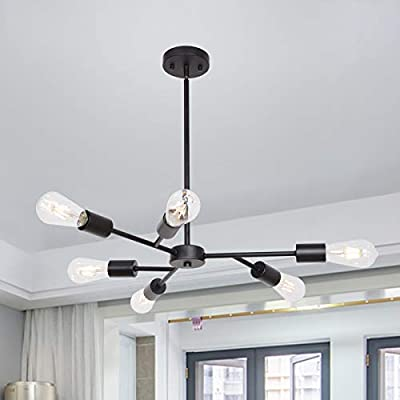 Lucide Pendant Lighting Contemporary Stem Hung Chandelier Fixture Modern Ceiling Lamp with 6 Lights Brushed Nickel Hanging