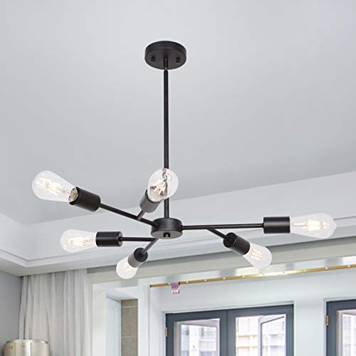 Banato Mid Century Modern Industrial Chandelier, 8 Light...