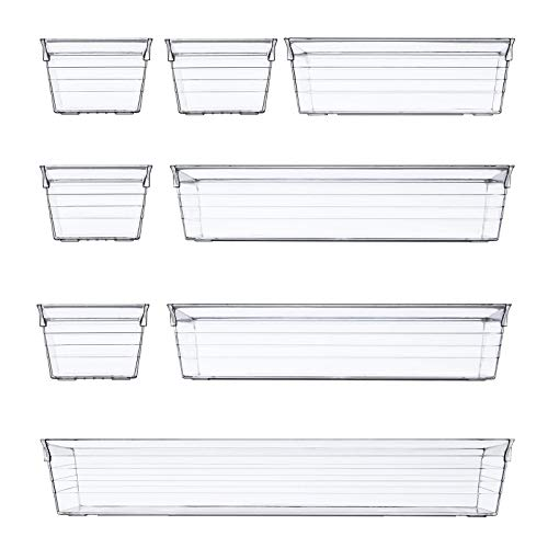 8 PCS Clear Plastic Drawer Organizer Tray Versatile for Makeup Kitchen Utensils Jewelries and Gadgets