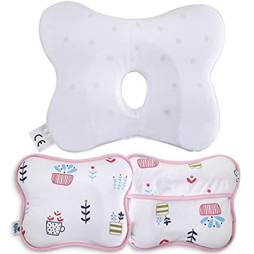 Ritalia® Almohada Bebe 0-12 Meses / Cojín ergonómico Lavable y extraíble con 2 Fundas / Almohada bebé recién Nacido / Almohada Cuna bebé en viscolastica (Rosa)