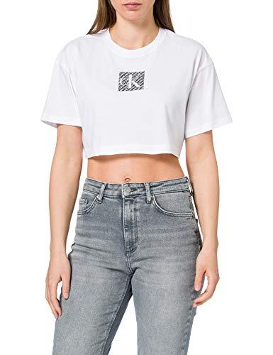 Calvin Klein Jeans Hologram Logo Crop Tee Collare spalmato, Bianco Brillante, S...