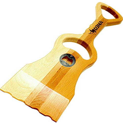 Kona Safe/Clean Wood Grill Scraper - Wooden BBQ Grill Cleaner Tool with Bottle Opener, No Bristles, Safer Than Wire Barbecue Grill Cleaning Brush - 100% Beech Hardwood…