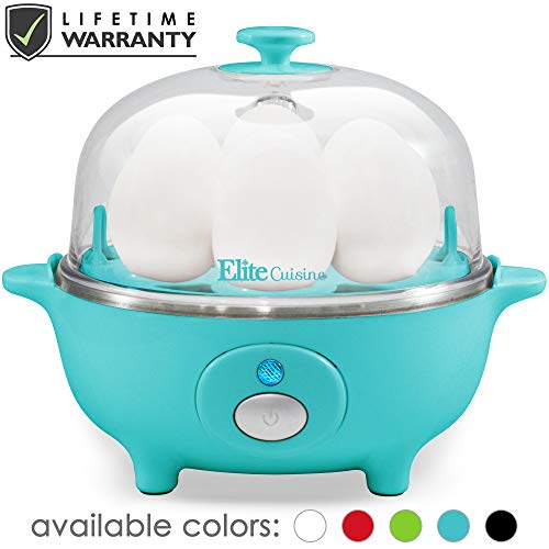 Maxi-Matic Easy Electric Egg Poacher, Omelet Measuring Cup Included, 7 Capacity, Teal