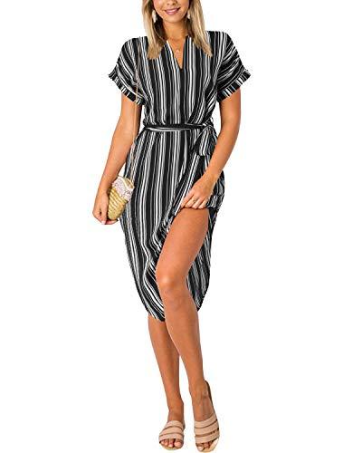Yoins Damenkleid mit V-Ausschnitt, Blumenmuster, kurze Ärmel, Midi-Kleid, Sommerkleid, lässig, Kleid mit Schlitz Gr. Medium, schwarz gestreift