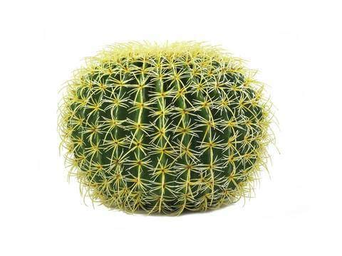 artplants.de Lot 2 x Cactus Artificiel, en Boule, Vert-Jaune, 35cm - 2 pcs Plante de décoration Exotique - Faux Cactus